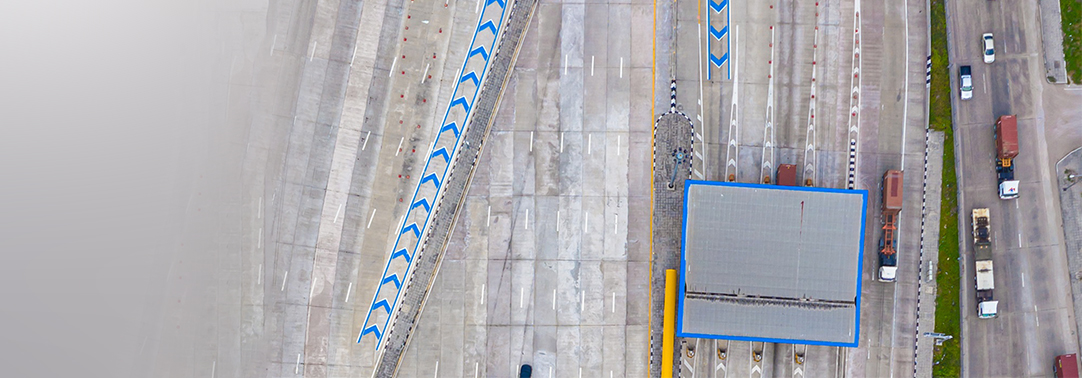 Top view of highway road, toll plaza