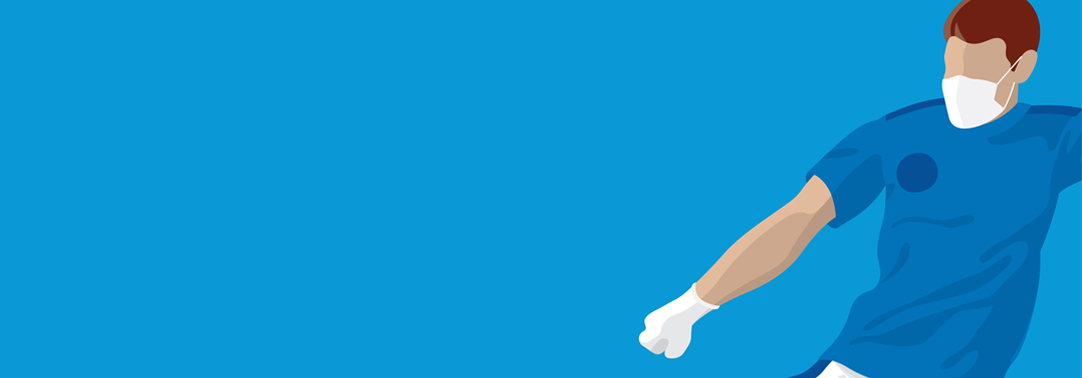 Man wearing mask and glove illustration against blue background