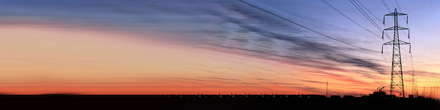 View of electricity towers in a row, sunset view