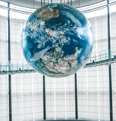 Globe hanging on the cables