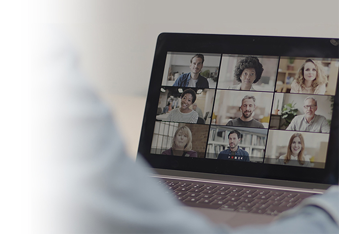 People in a video call via laptop