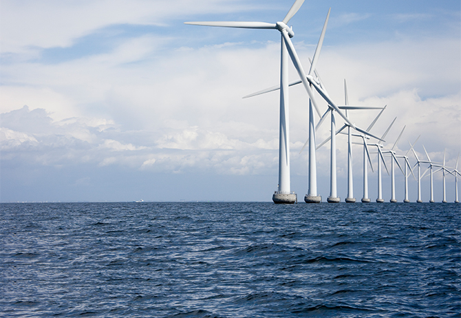 Windmills in ocean