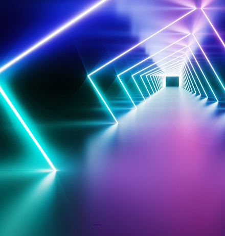 Colourful digital rays forming a tunnel