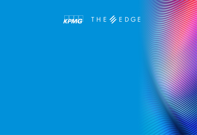 KPMG and The Edge logo text overlay against blue pink texture image