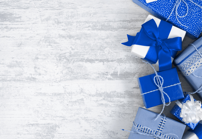 Blue wrapped presents