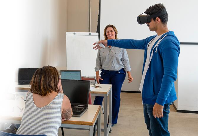 Student experiencing virtual learning in classroom