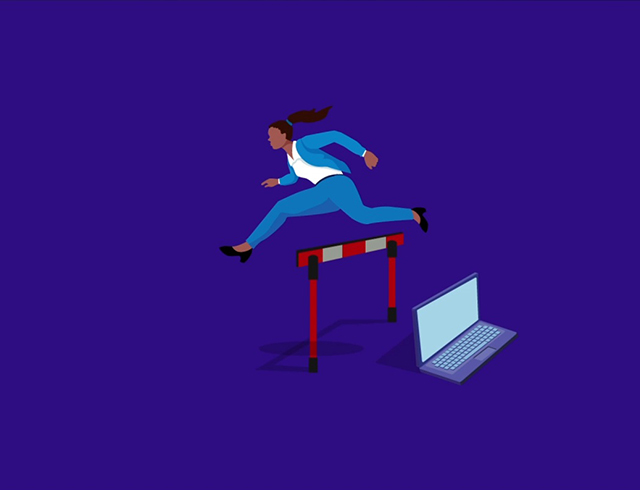 Woman jumping hurdle - Ilustration