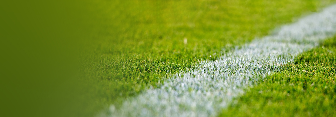 Close-up shot of football field white marking on grass