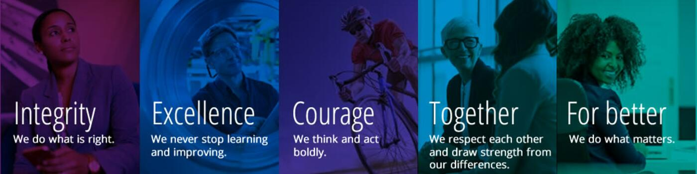 Our values - Integrity, Excellence, Courage, For better and Together
