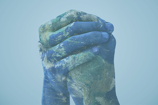 Hands painted blue earth