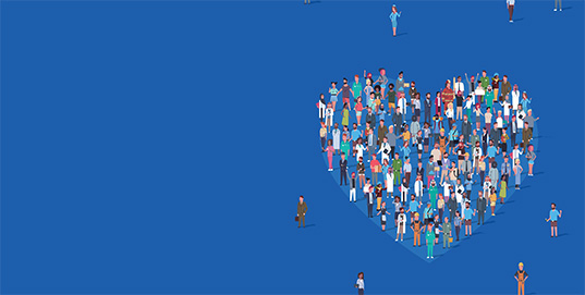 People coming together to form a heart