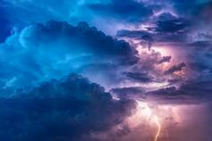 Blue clouds with lightning