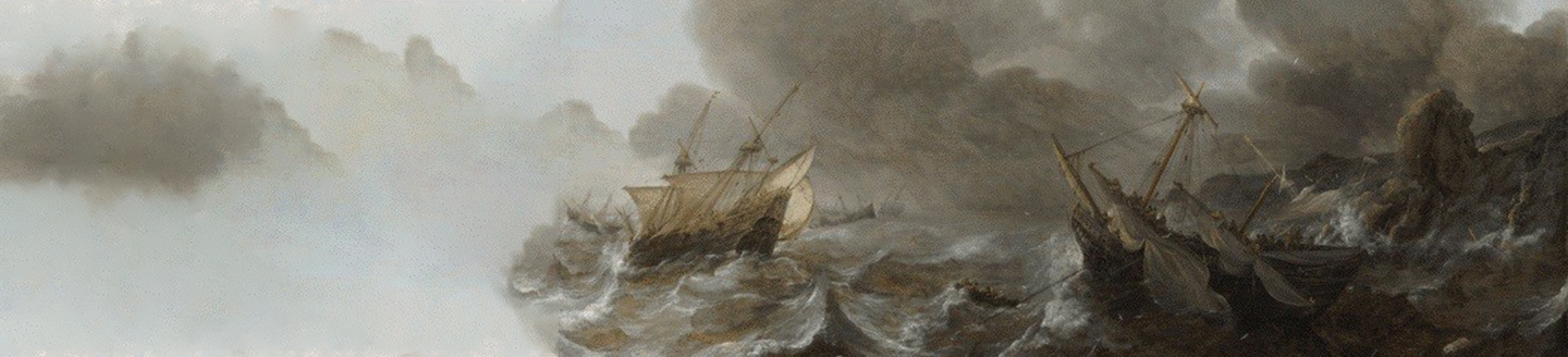 Painting-of-ships-surrounding-storm