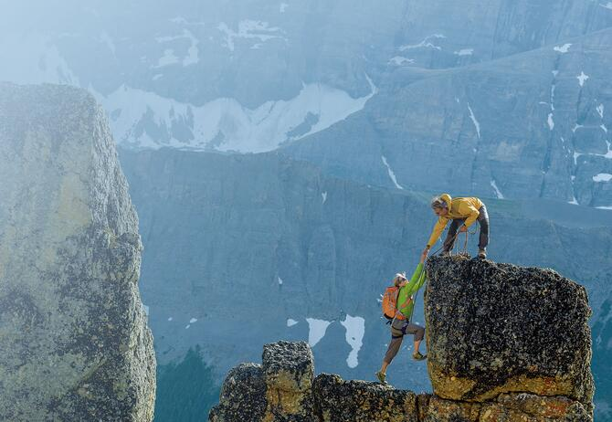 Climbers on a mountain