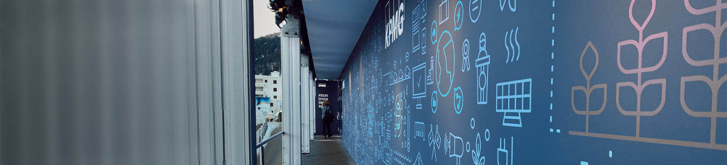 KPMG Office corridor with illustrations on blue colored side walls