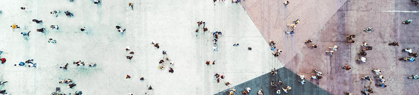 Overhead view of people