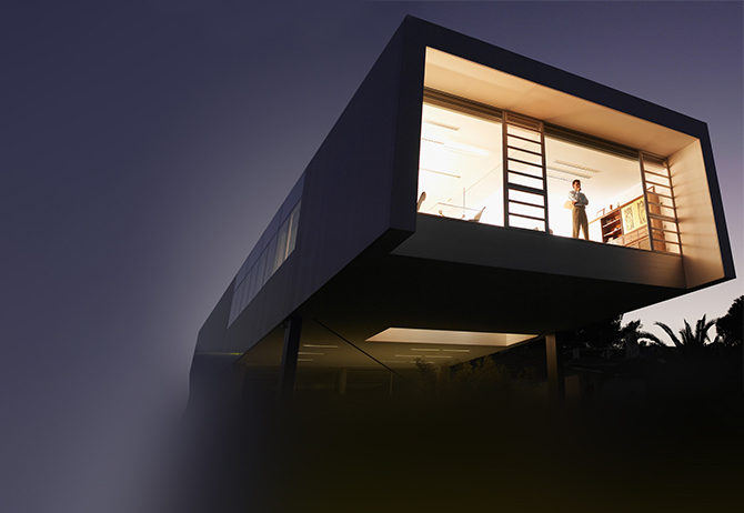 Concept home of a business man who is standing at front, night view
