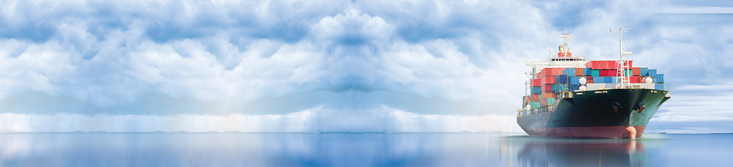 Huge ship loaded with containers in cloudy blue sky in sea