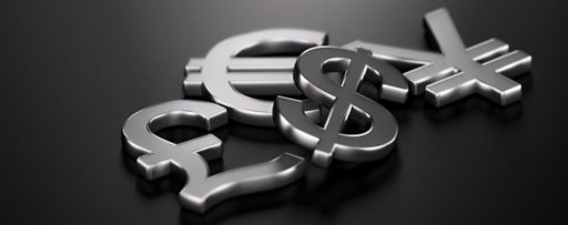 3d image of the four main currencies