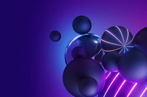3D render of geometric shapes on purple background