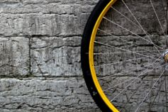 Bike wheel at wall