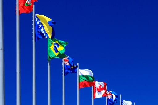 International flags from multiple countries
