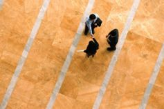 Aerial view of people shaking hands