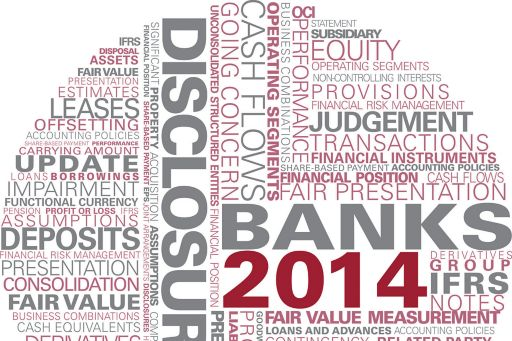 KPMG Guides to annual IFRS financial statements for banks 2014 publication image: financial statement and disclosure word cloud,Illustrative financial statements for banks 2014