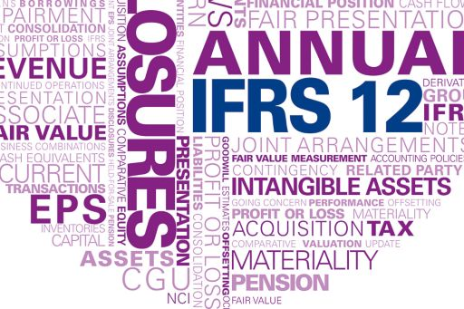 KPMG Guides to annual IFRS financial statements 2014: IFRS 12 supplement publication image: financial statement and disclosure word cloud