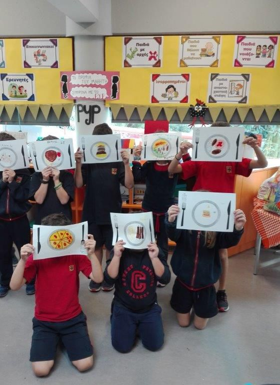 children holding food plates paintings