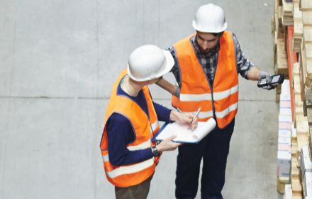 Man taking stock in a warehouse