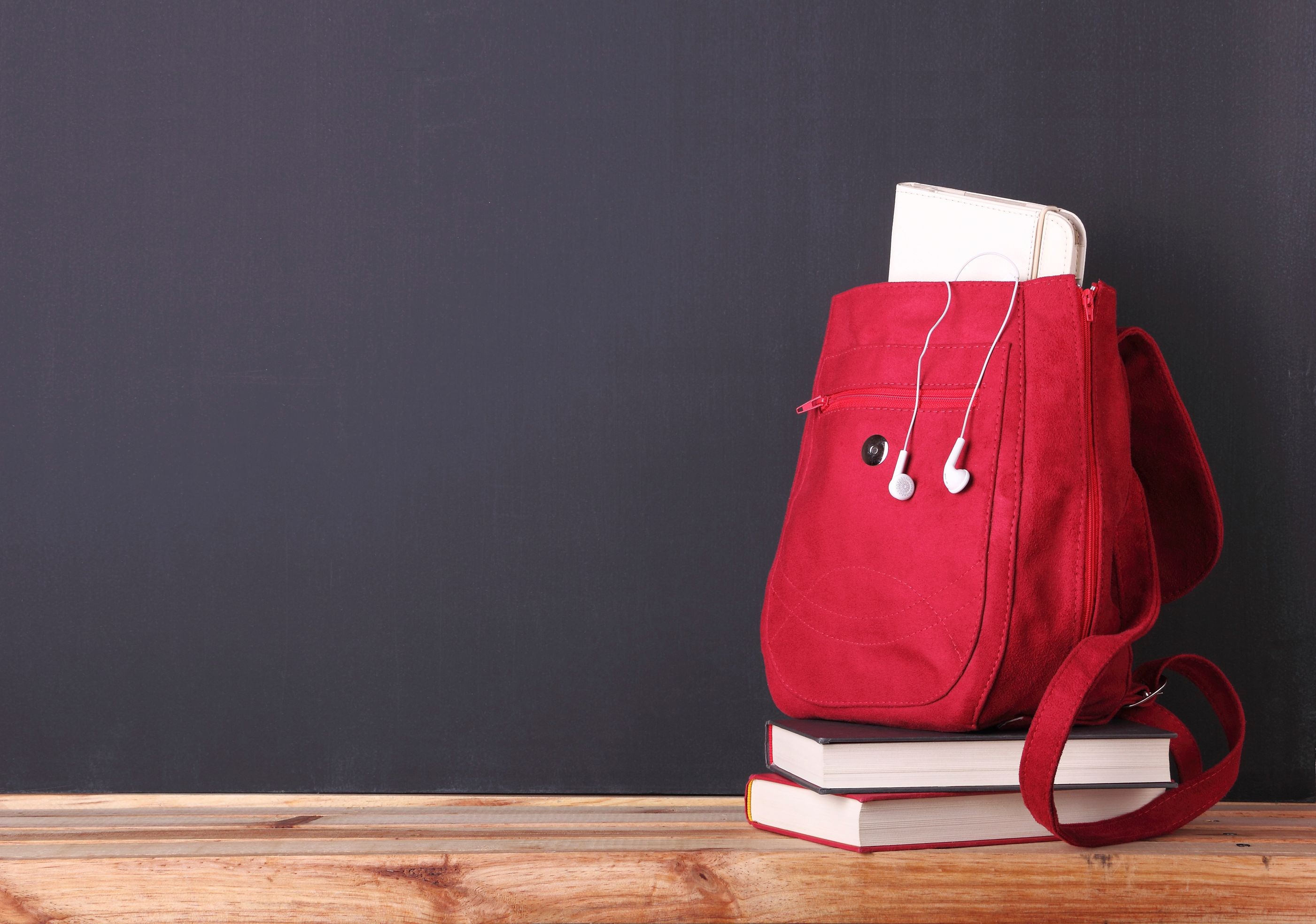 backpack and books