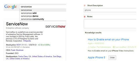 ServiceNow google search results