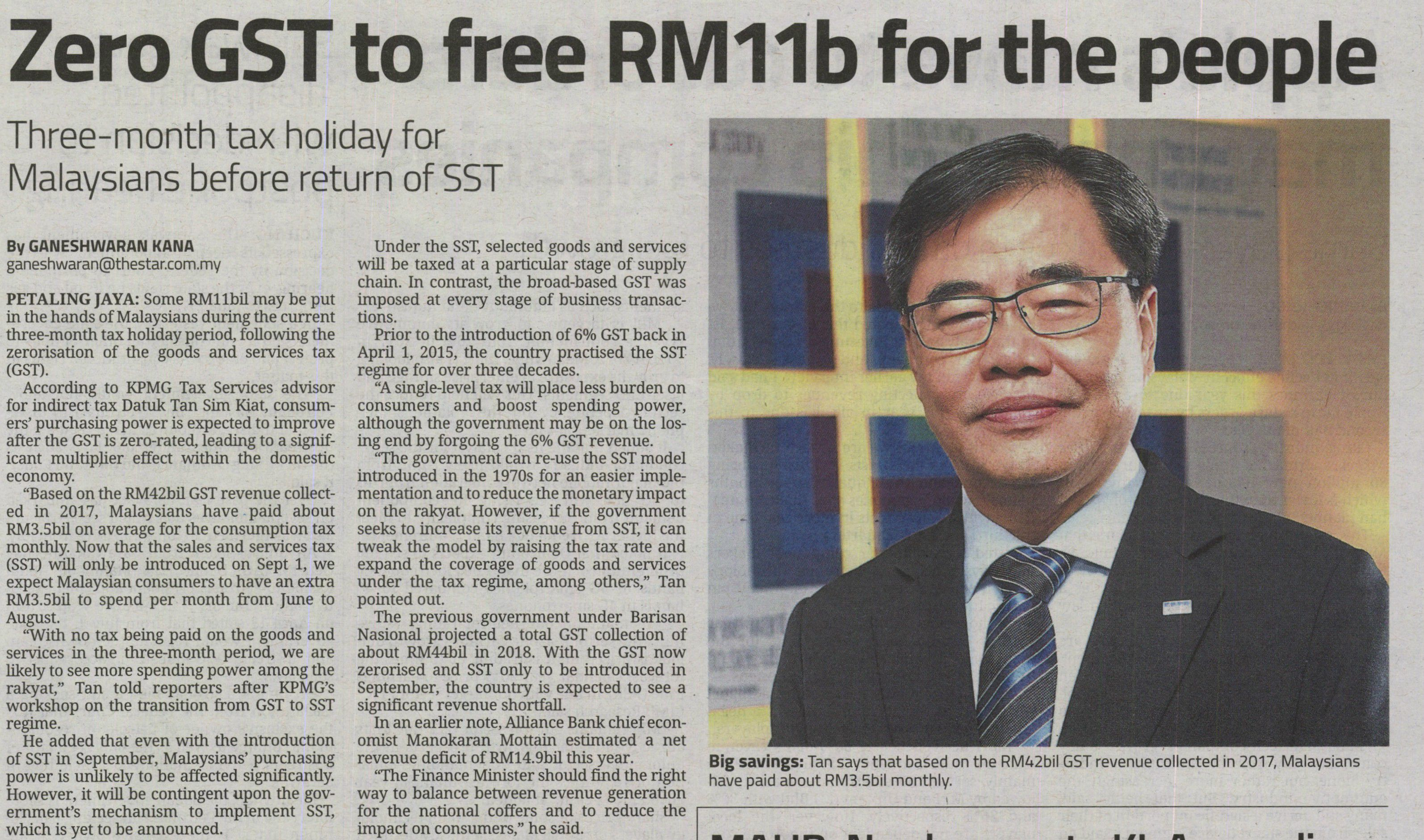 Zero GST to free RM11b for the people