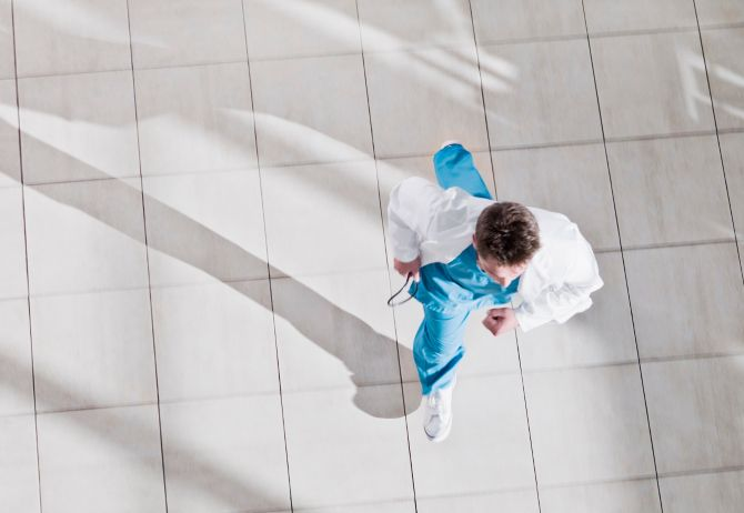 A doctor walking from above