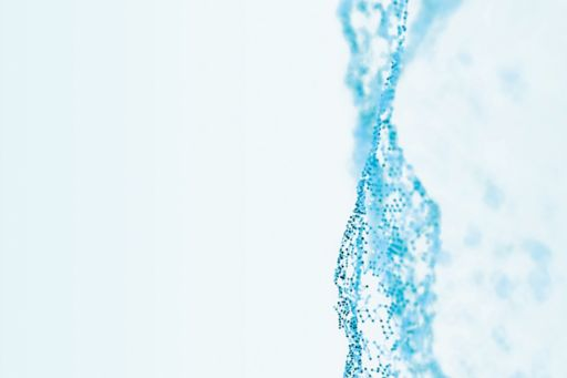 Abstract blue particle waves on a white background