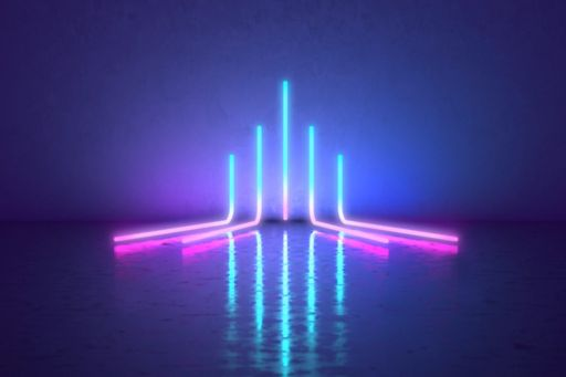 Accelerating colourful neon lines
