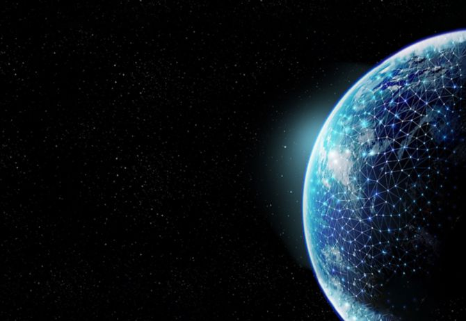 planet in space with connected dots