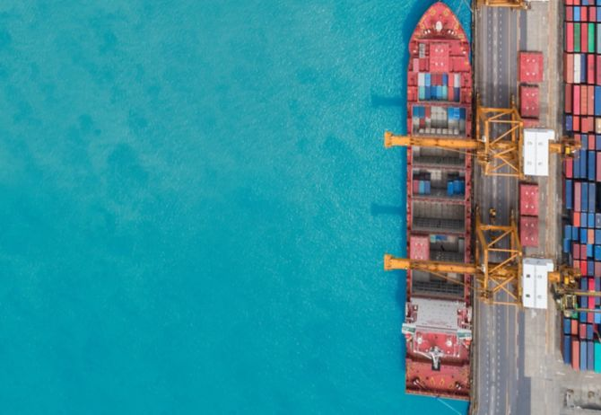 Aerial view of container ship from sea port