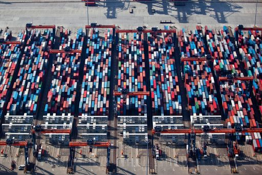 Aerial view container terminal