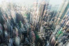 Aerial view of blurred buildings