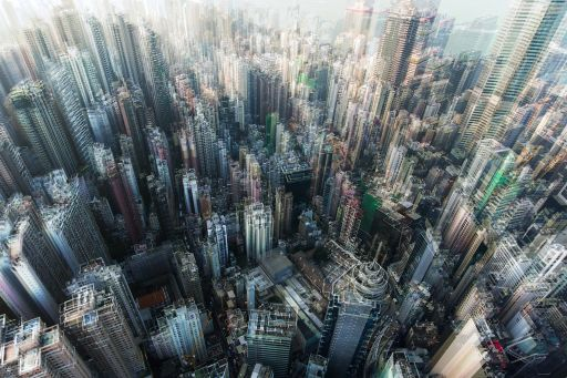 Blurred buildings in city
