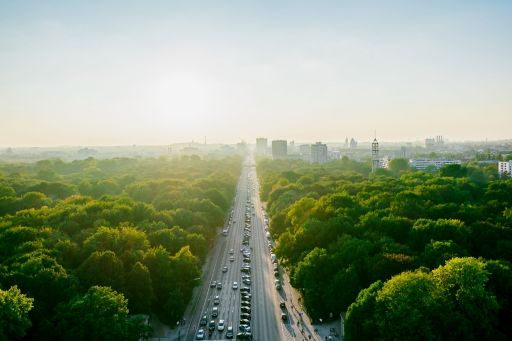 Aerial view of busy road