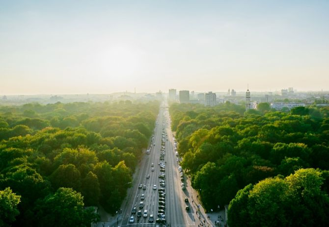 Aerial view of a busy road
