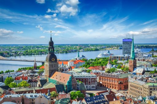 Aerial view of city with buildings near river, Latvia
