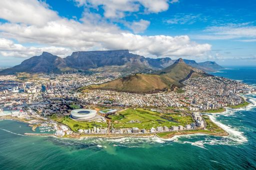 Aerial view of city with mountains and river, South Africa