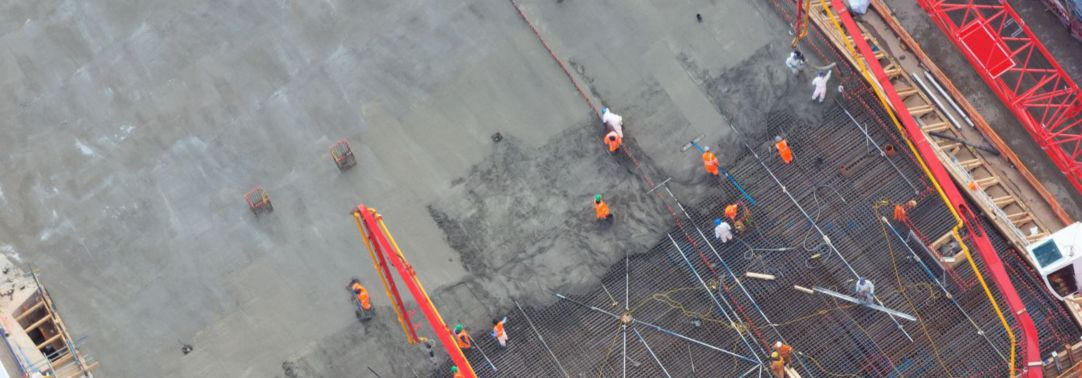 Aerial view of construction workers