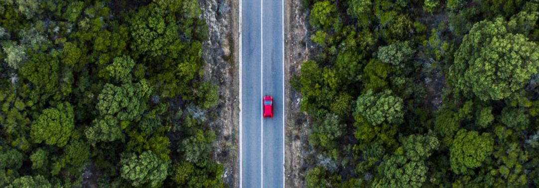 Aerial view of red car