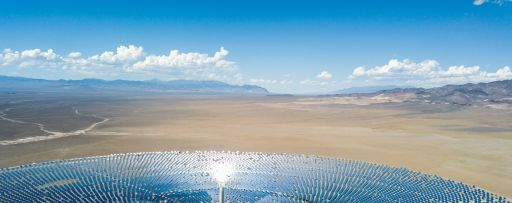 Aerial view of solar power plant