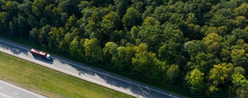 Aerial view of truck on highway